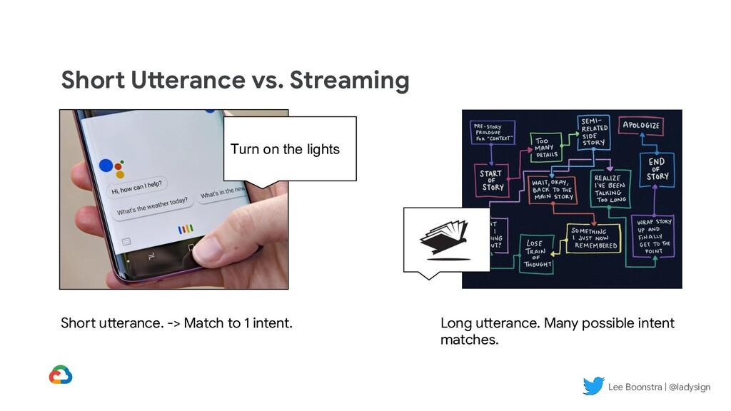 Short Utterance vs. Streaming Turn on the light...