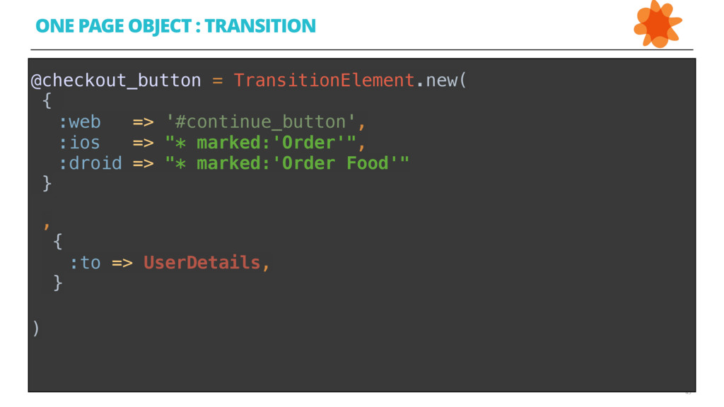 45 ONE PAGE OBJECT : TRANSITION @checkout_butto...