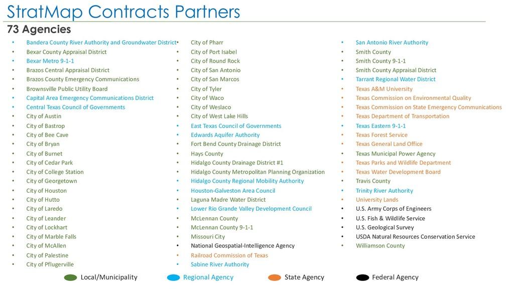 StratMap Contracts Partners 73 Agencies • Bande...
