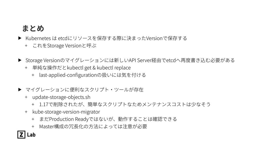 まとめ ▶ Kubernetes は etcdにリソースを保存する際に決まったVersionで...