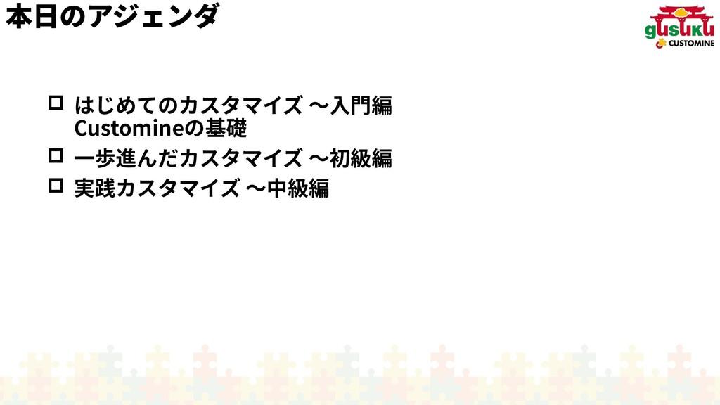 本日のアジェンダのアジェンダアジェンダ  はじめてのカスタマイズ カスタマイズ 〜入門編入門...