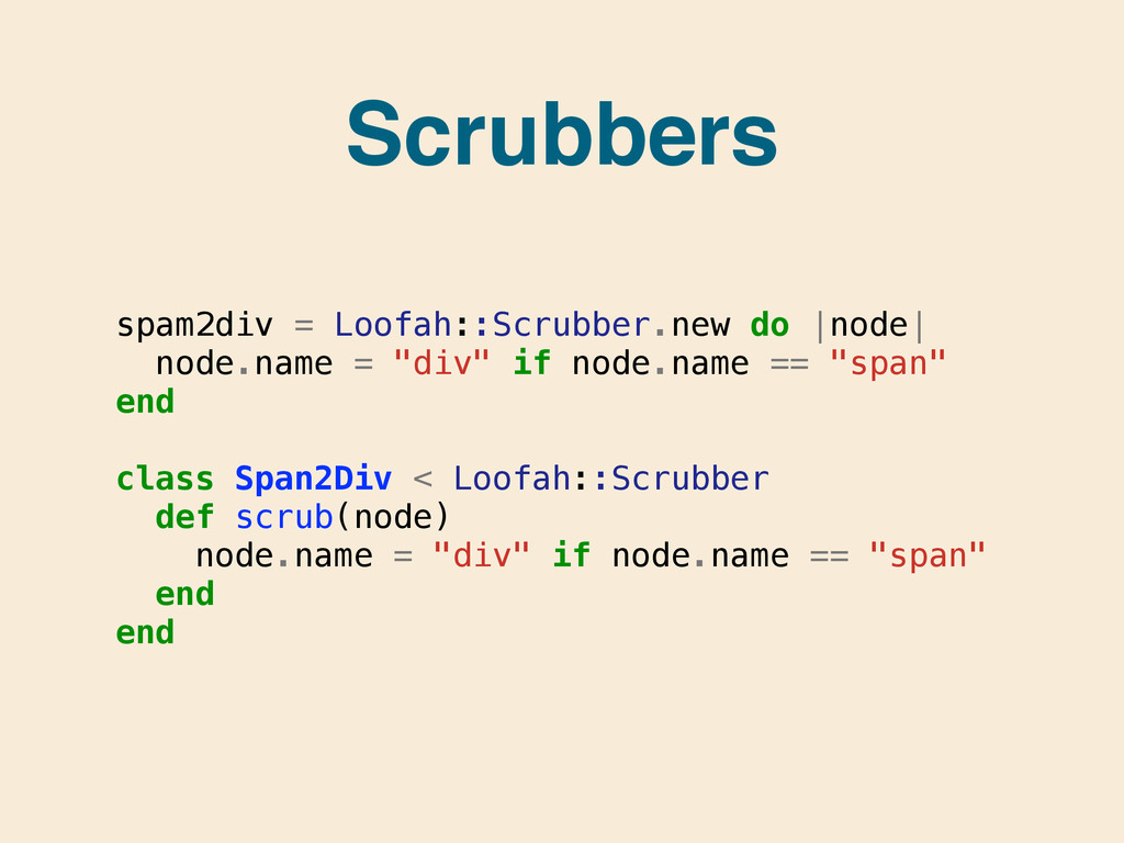 Scrubbers spam2div = Loofah::Scrubber.new do  n...