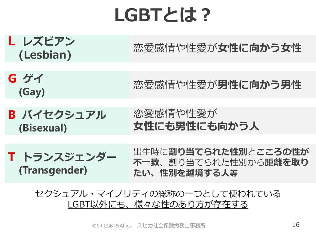 16 ©SR LGBT&Allies スピカ社会保険労務士事務所 LGBTとは? L レズビア...