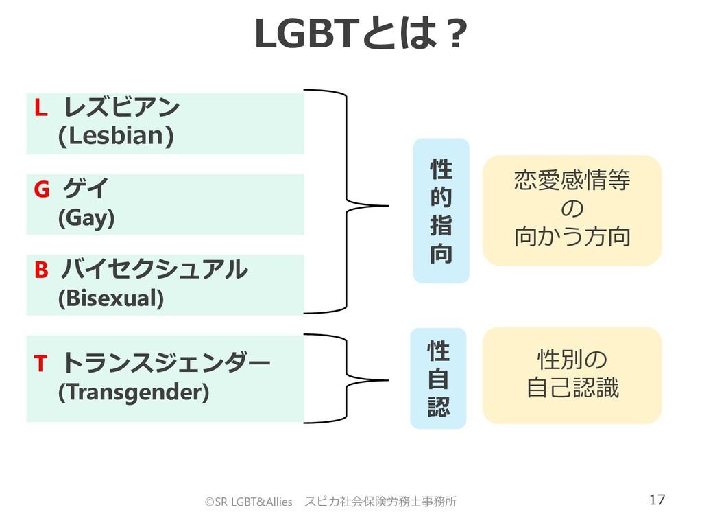 17 ©SR LGBT&Allies スピカ社会保険労務士事務所 LGBTとは? L レズビア...