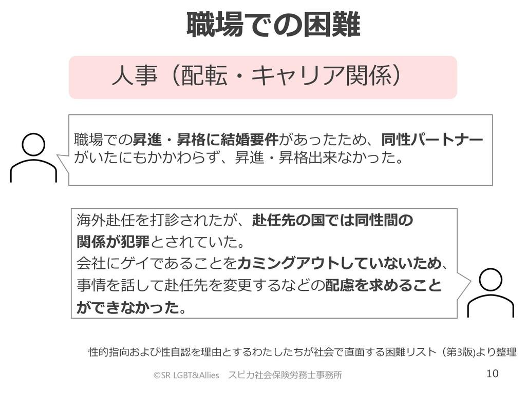 10 人事(配転・キャリア関係) 職場での困難 ©SR LGBT&Allies スピカ社会保険...