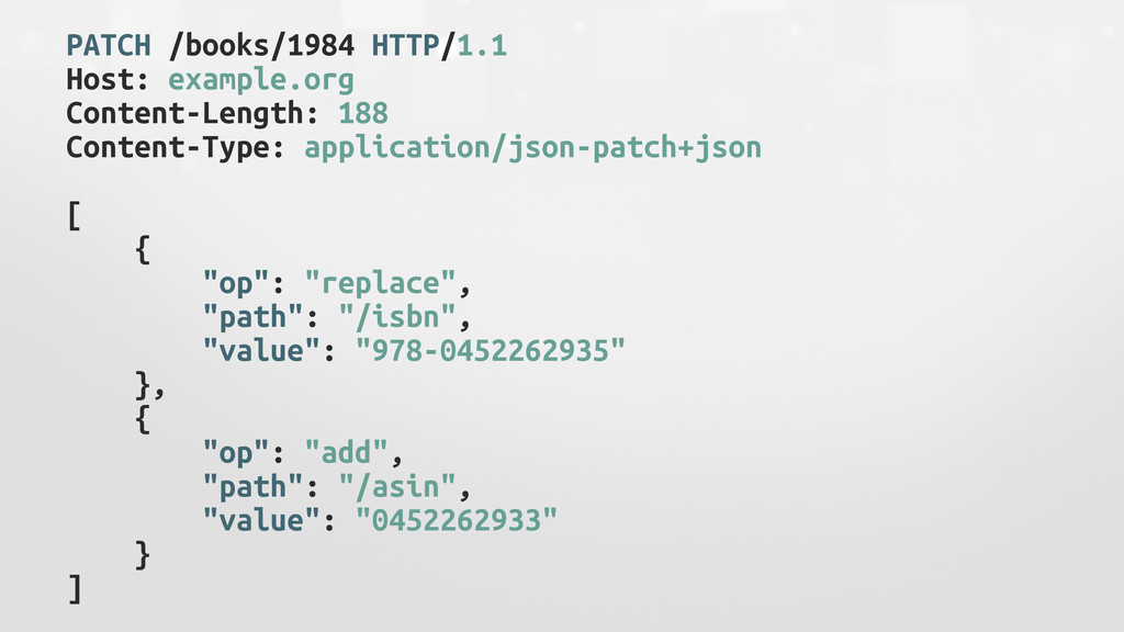 PATCH /books/1984 HTTP/1.1 Host: example.org Co...