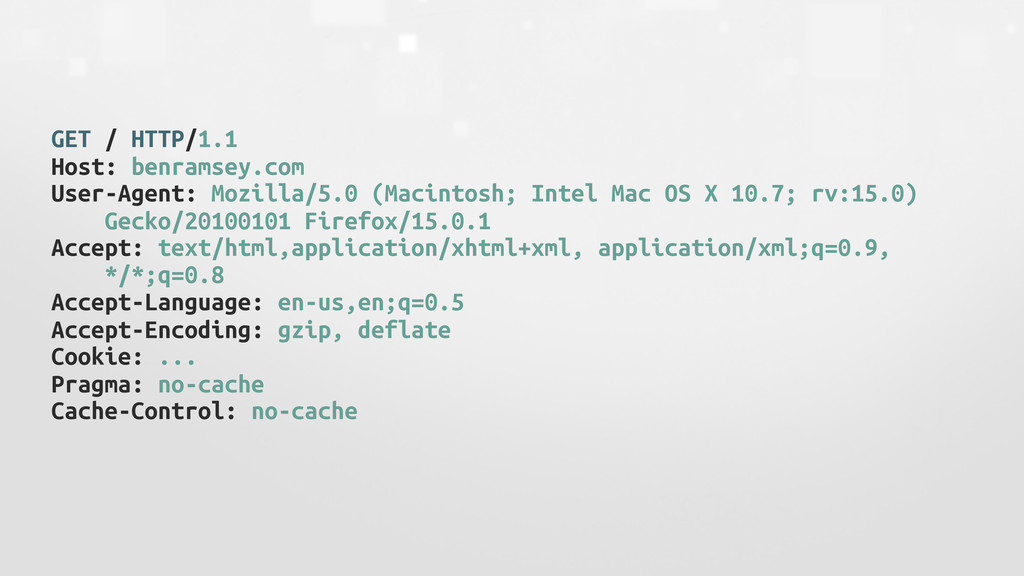 GET / HTTP/1.1 Host: benramsey.com User-Agent: ...