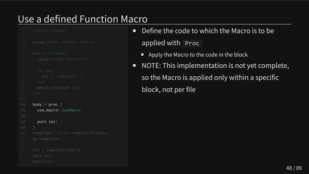Use a defined Function Macro               14 b...