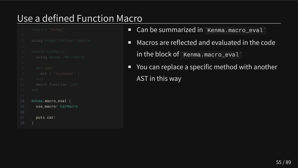 Use a defined Function Macro               14 K...