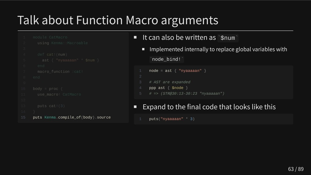 Talk about Function Macro arguments            ...
