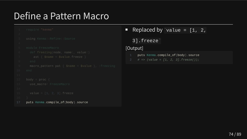 Define a Pattern Macro                       17...