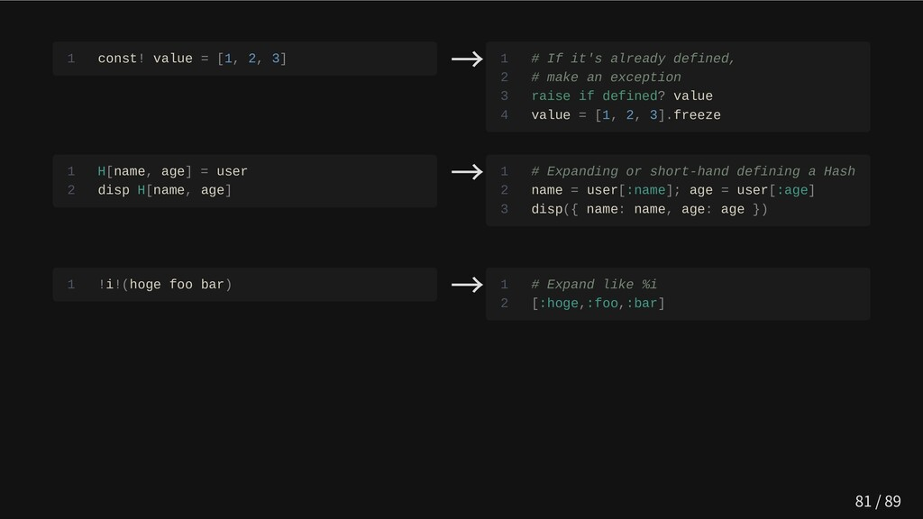1 const! value = [1, 2, 3] → 1 # If it's alread...