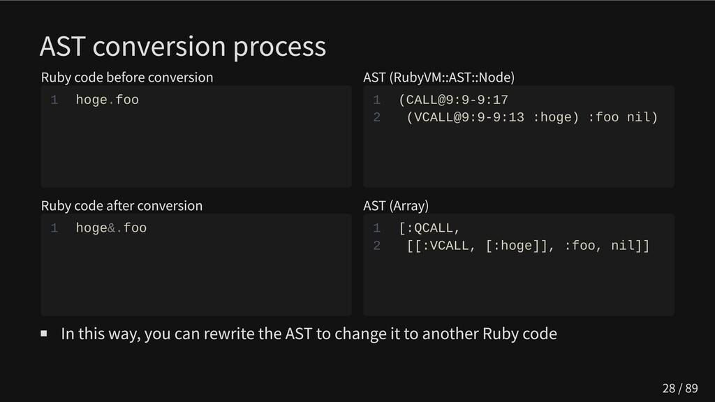 AST conversion process Ruby code before convers...