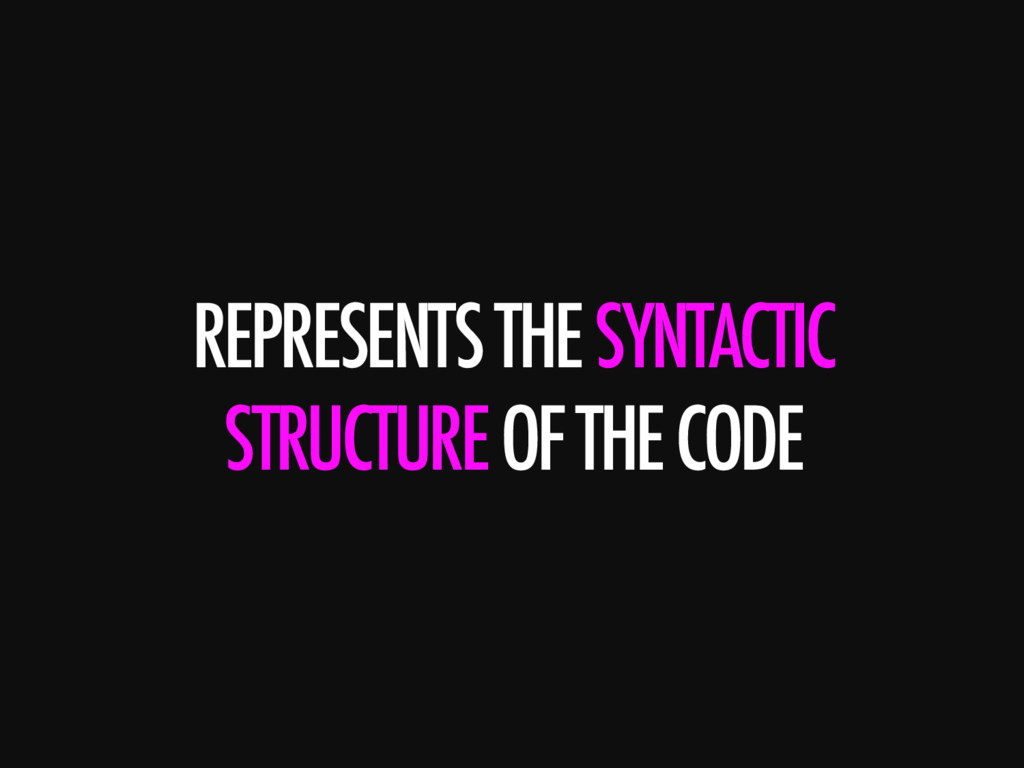REPRESENTS THE SYNTACTIC STRUCTURE OF THE CODE