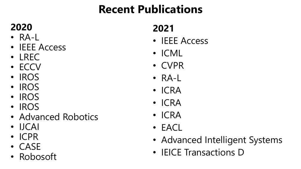 Recent Publications 2020 • RA-L • IEEE Access •...