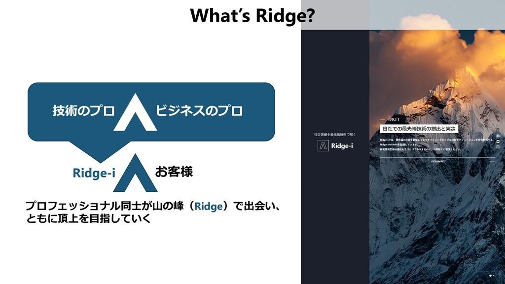 技術のプロ What's Ridge? ビジネスのプロ Ridge-i お客様 プロフェッショ...