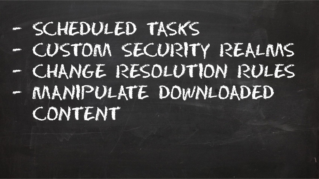 – scheduled tasks – Custom security realms – Ch...