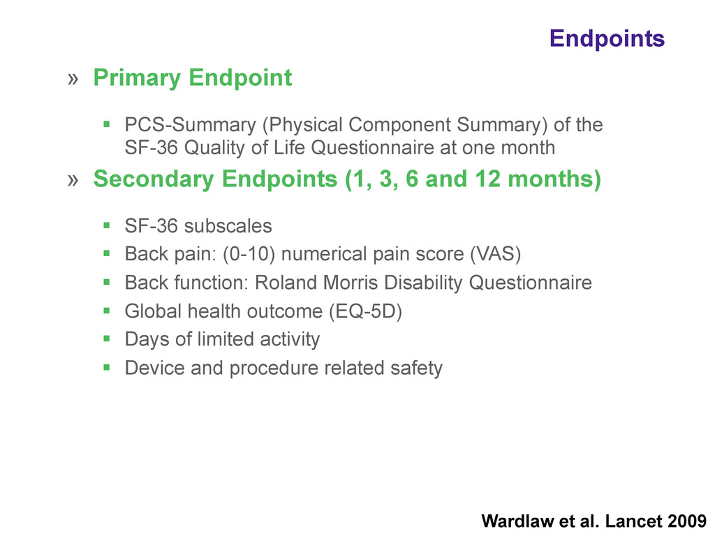» Primary Endpoint ! PCS-Summary (Physical Comp...