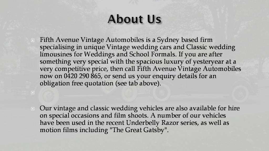  Fifth Avenue Vintage Automobiles is a Sydney ...