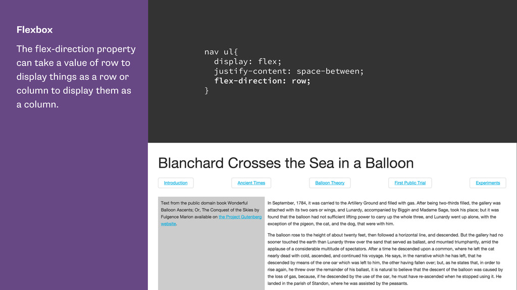 Flexbox The flex-direction property can take a ...