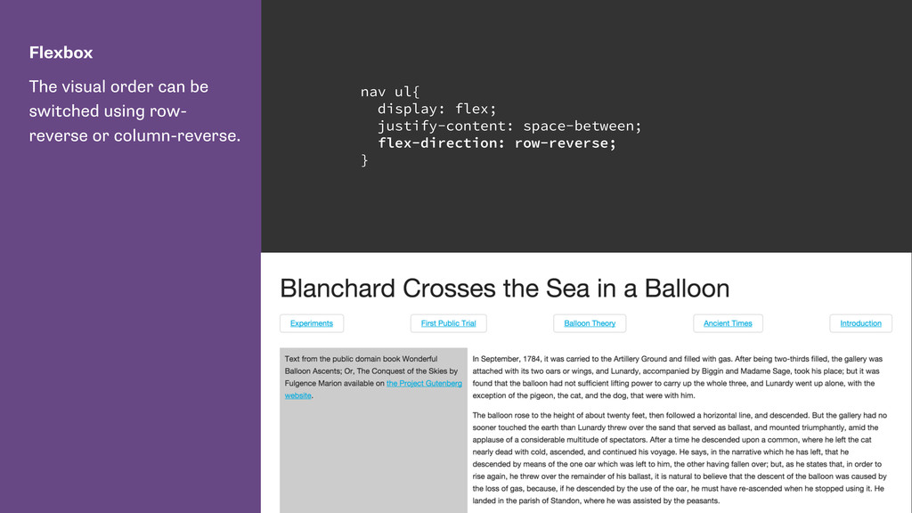 Flexbox The visual order can be switched using ...