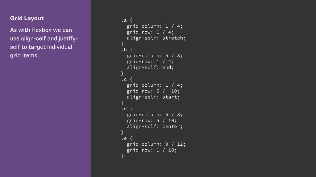 Grid Layout As with flexbox we can use align-se...