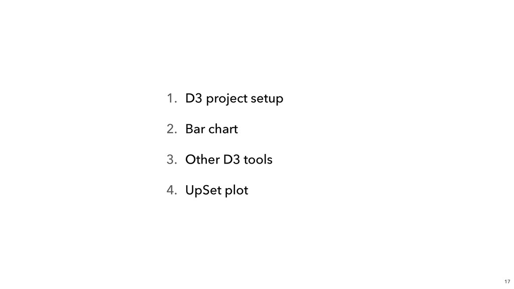 1. D3 project setup 2. Bar chart 3. Other D3 to...