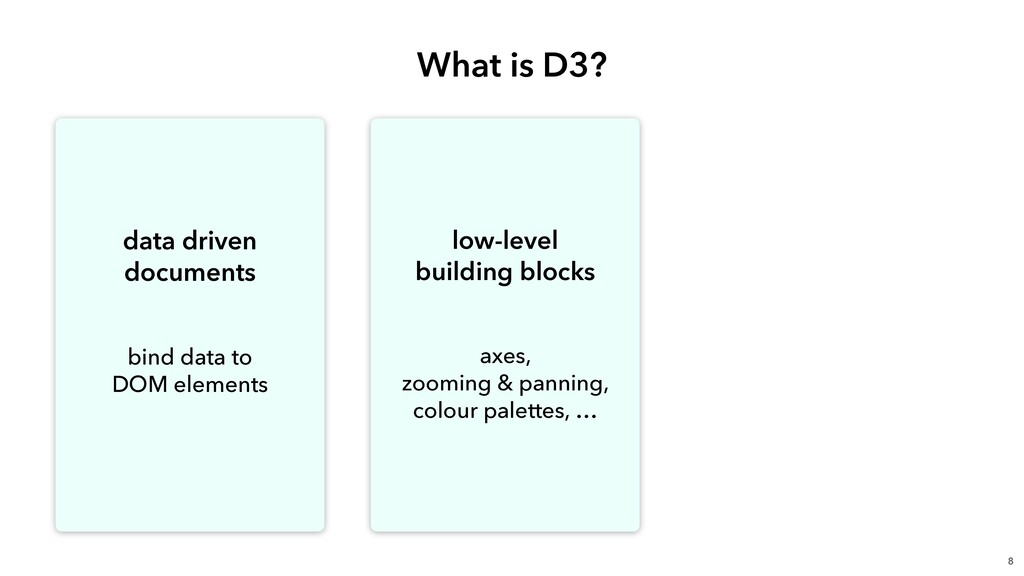 What is D3? 8 data driven documents  bind data...