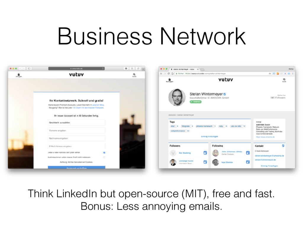 Business Network Think LinkedIn but open-source...