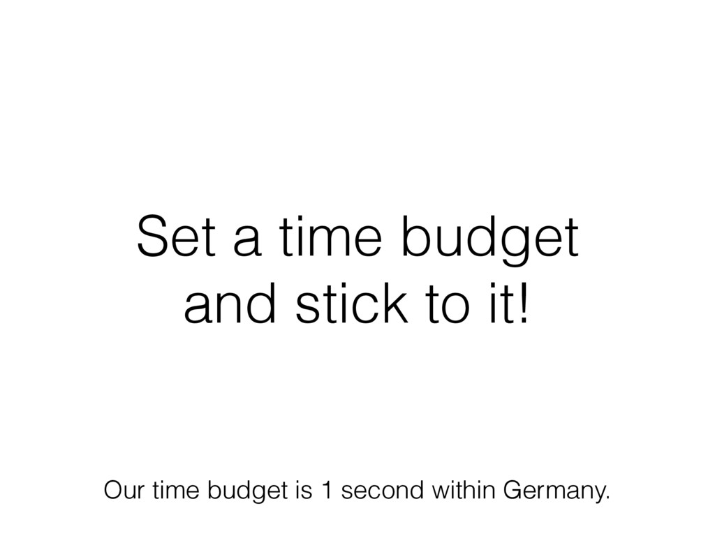 Set a time budget and stick to it! Our time bud...