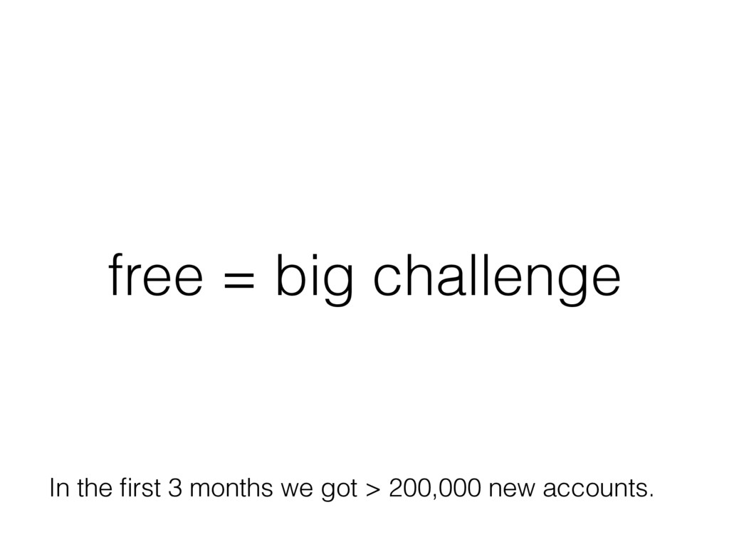 free = big challenge In the first 3 months we go...