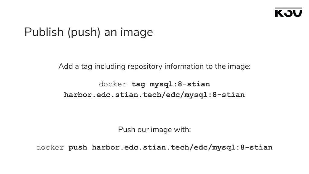 Publish (push) an image Add a tag including rep...