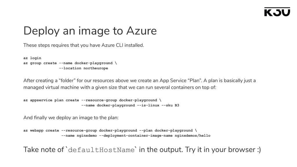 Deploy an image to Azure These steps requires t...