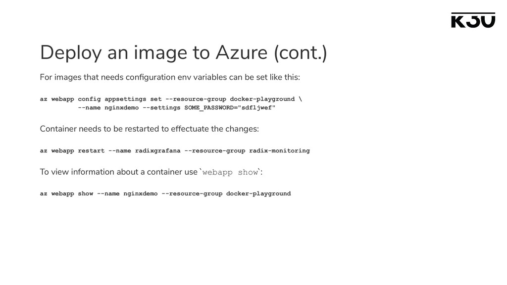 Deploy an image to Azure (cont.) For images tha...