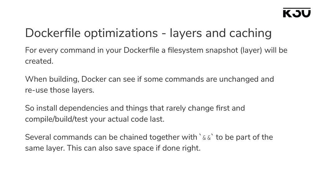 Dockerfile optimizations - layers and caching Fo...