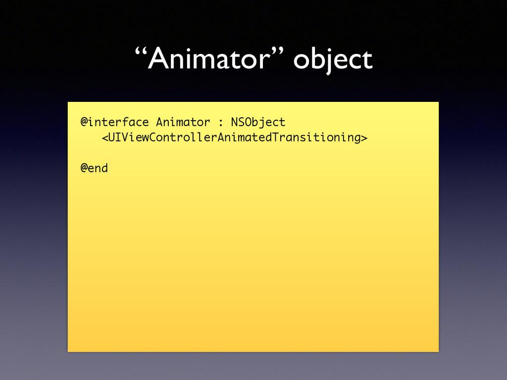 """Animator"" object @interface Animator : NSObjec..."