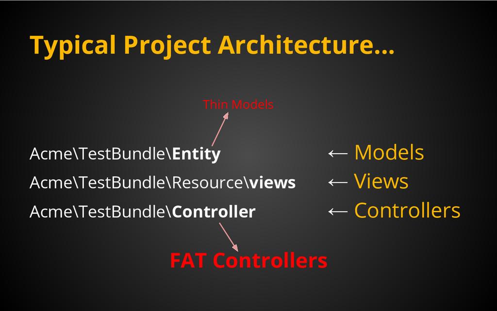 Typical Project Architecture... Acme\TestBundle...