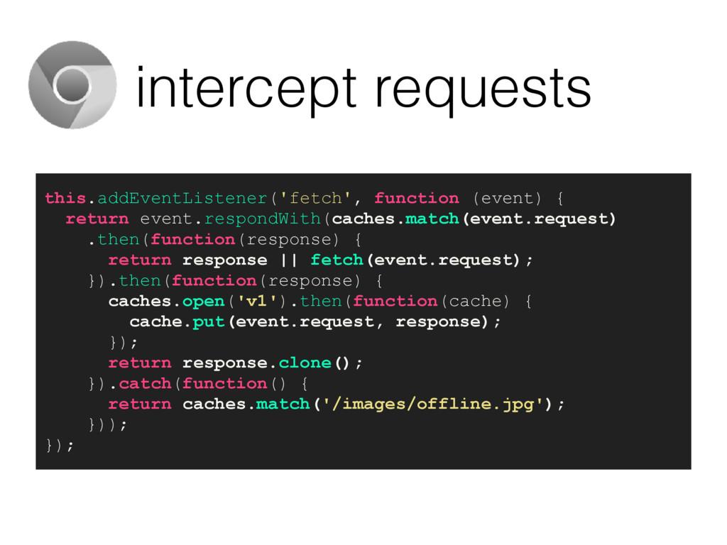 intercept requests this.addEventListener('fetch...
