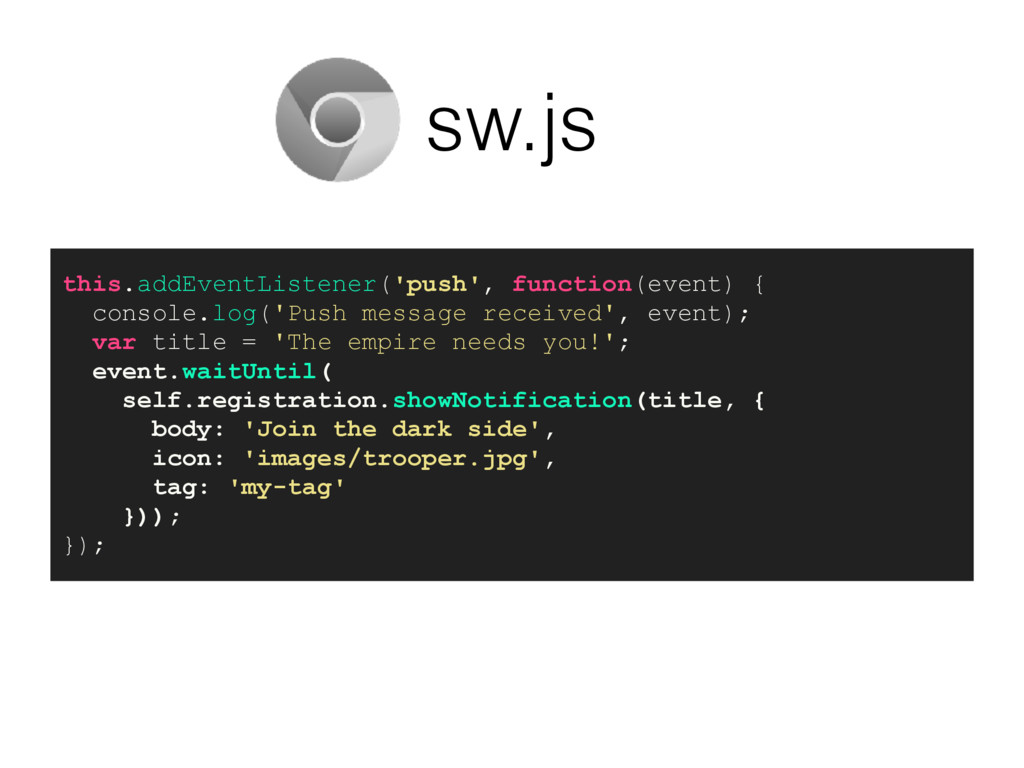 sw.js this.addEventListener('push', function(ev...