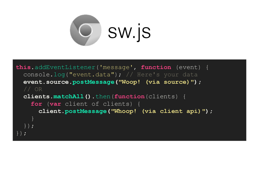 sw.js this.addEventListener('message', function...