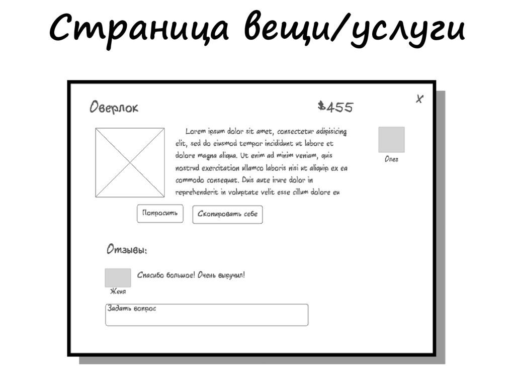 Страница вещи/услуги