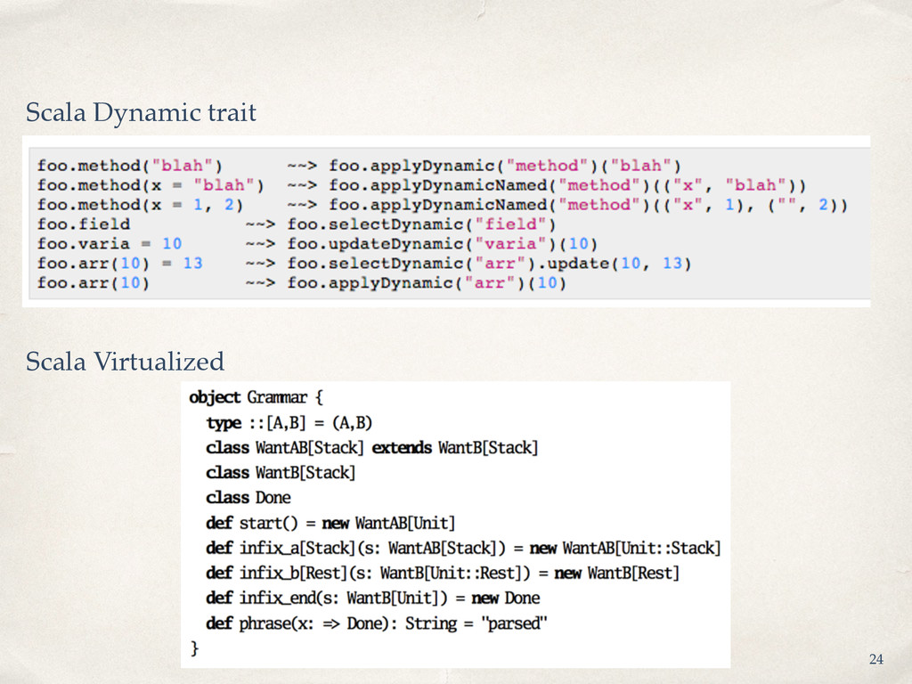 Scala Dynamic trait Scala Virtualized 24