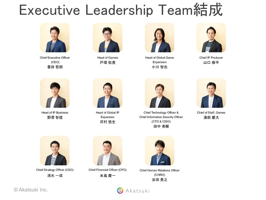 © Akatsuki Inc. Chief Executive Officer (CEO) 香...
