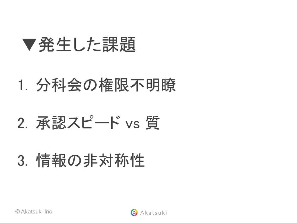 © Akatsuki Inc. ▼発生した課題  1. 分科会の権限不明瞭  2. 承...
