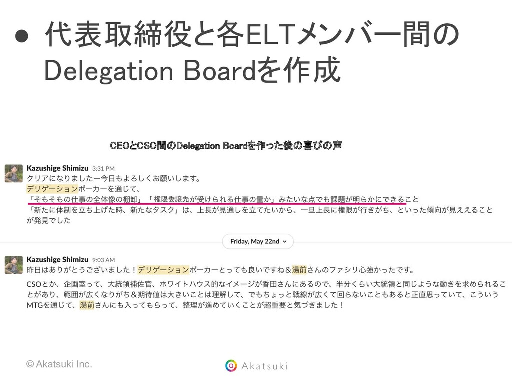 © Akatsuki Inc. ● 代表取締役と各ELTメンバー間の Delegation B...