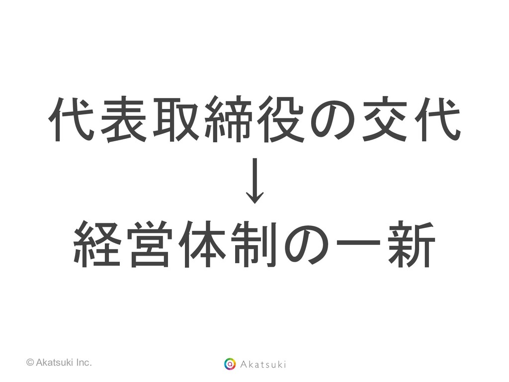 © Akatsuki Inc. 代表取締役の交代 ↓ 経営体制の一新