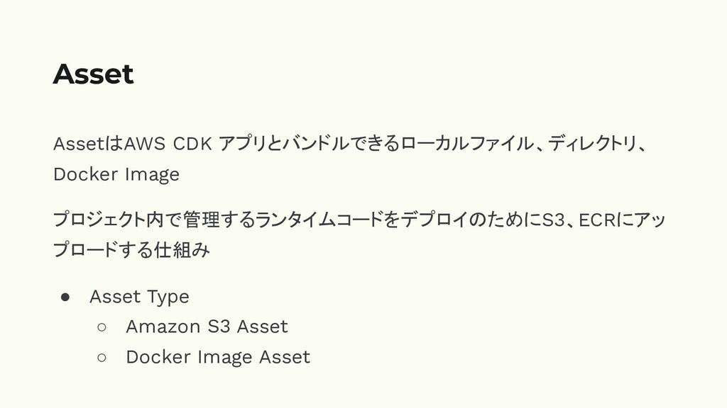 AssetはAWS CDK アプリとバンドルできるローカルファイル、ディレクトリ、 Docke...