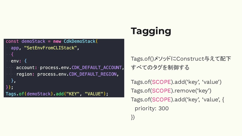 Tagging Tags.of()メソッドにConstruct与えて配下 すべてのタグを制御す...