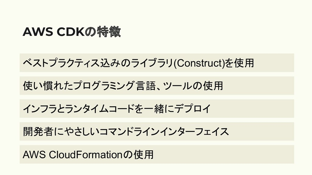 AWS CDKの特徴 ベストプラクティス込みのライブラリ(Construct)を使用 使い慣れ...