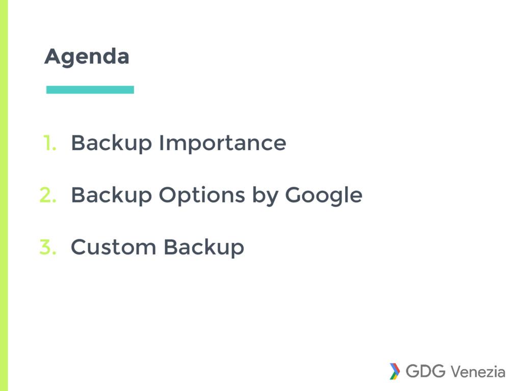 Agenda 1. Backup Importance 2. Backup Options b...